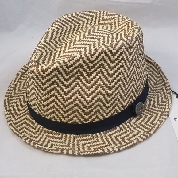 65d1d8e7146 New BEN SHERMAN Paper Straw Trilby Hat Brown Zigza